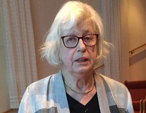 Birgitta Sandström berättade intressant om den kvinnliga myntgravören Lea Ahlborn.