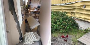 Det blev stora skador på butikes vägg till följd av olyckan.
