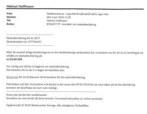 Brevet som Helmut Hoffmann fick skickat till sig, där bland annat en skatteåterbäring på 6 120 kronor utlovades.