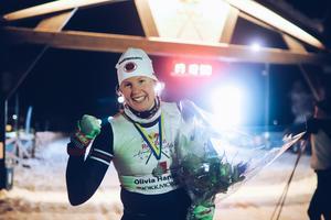 Olivia Hansson efter målgången på det 22 mil långa Nordenskiöldsloppet. Bild: Privat