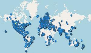 Skärmklipp från Fridays for futures karta över manifestationer i världen.