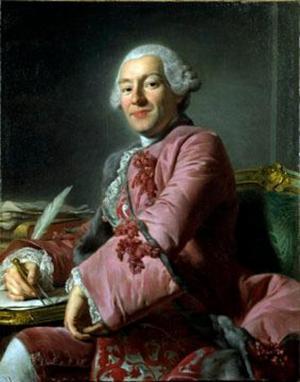 Roslins porträtt av mannen som ritade Rådhuset: Carl Fredrik Adelcrantz.