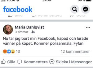 Maria Dahlqvist Lättman har valt att avsluta sitt konto i Facebook.
