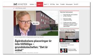 Köpings grundskolechef Pär Ellmin säger i intervju i SVT Nyheter Västmanland  att elever kan placeras tillfälligt i andra lokaler. (Skärmbild från SVT Nyheter Västmanland)