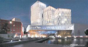 I maj 2018, när Stadsrum fastigheter först presenterade sina hotellplaner vid Marenplan såg skissen ut så här. Illustration: Fojab arkitekter/Stadsrum fastigheter