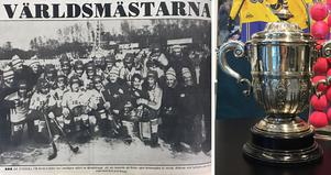 Världsmästarlaget och VM-bucklan.