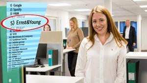 Linnea Scheid, 23, har varit anställd hos EY i ett halvår. Under studierna på Mälardalens högskola i Västerås fanns EY med på hennes lista över drömarbetsgivare.