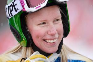 Svenska OS-hoppet i skicross, Sandra Näslund, testade banan i Sydkorea redan för två år sedan. Bild: TT Nyhetsbyrån.
