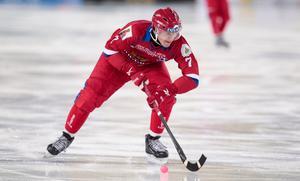 Sergej Lomanov när Ryssland slog Finland med 2–1 på tisdagen. Foto: Rikard Bäckman / Bandypuls.se / TT