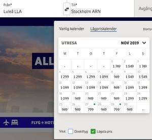 Och så här mycket kostar det att flyga från Luleå.