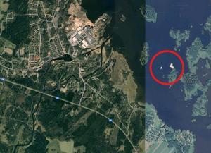 Skarvkolonin inringad i rött utanför Karlholmsbruk drygt två mil från Älvkarleby sportfiske. Bild: Google/Axel Lundqvist