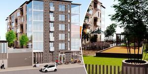 I mitten av oktober är det säljstart av 30 lägenheter i centrala Örnsköldsvik. Skiss: Arkinova Arkitektur