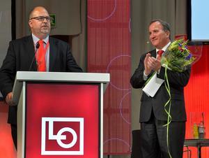 LO:s ordförande Karl-Petter Thorwaldsson och statsminister Stefan Löfven på LO-kongress. Foto: Jonas Ekströmer