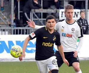 Martin Lorentzson nickade in ÖSK:s ledningsmål mot AIK, hans första allsvenska i ÖSK-tröjan, och tillhörde lagets bästa spelare.Bild: Conny Sillén/TT