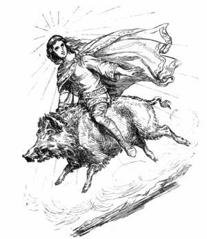 Frey rider på den flygande galten Gyllenborst. Illustration av Ludwig Pietsch från 1865.
