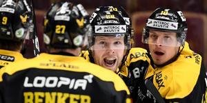Lukas Zetterberg jublar efter ett mål i Hockeyallsvenskan säsongen 2018/2019.