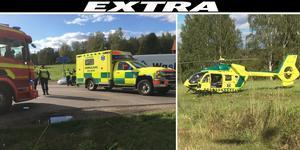 Två personer fördes till sjukhus efter olyckan på länsväg 293 vid Täktgårdarna.