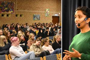 Mary Juusela föreläste på måndagen för Åvestadalsskolans högstadieelever.