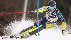 André Myhrer visade fin form när han blev fyra i slalomtävlingen. Bild: TT.
