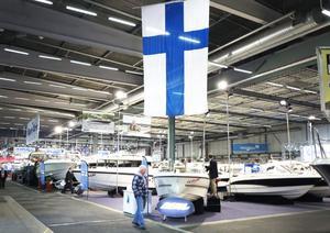 Finska båtar på 3 000 kvadrat på mässan.