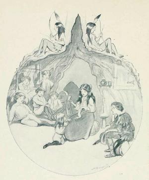 Wendy Darling blir som en mor för Peter Pan och de förlorade pojkarna. Illustration av Oliver Herford från 1907.