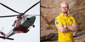 """Montage. Bilder: TT/Pressbild.  David, 22, tar helikoptern från Östersund till VM i Ryssland: """"Häftig upplevelse"""""""