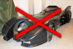 Batmobilen som skulle säljas har nu ställts in. Foto: Kronofogden