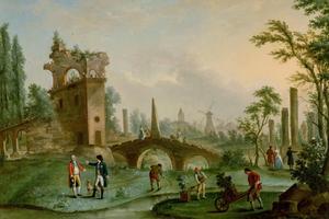 I Rétif de la Bretonnes framtidsvision är till och parkerna produktivt nyttiga då det bara växer fruktträd i dem. Målning av  Louis Carrogis Carmontelle från 1790.