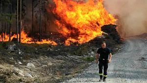 Bilden är tagen första dagen av den stora skogsbranden 2014 i närheten av Öjesjön. Foto: Alexandra Sannemalm