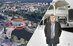 """Håkan Buller (S) är ordförande för stadsbyggnadsnämnden i Södertälje. Han har tidigare berättat om planerna för gamla McDonaldstomten vid Marenplan. """"Det är ingen hemlighet att vi sagt att det är möjligt med ett högt hus, men kommunens planarbete är i viloläge i väntan på att Telge fastigheter ska bli klara med försäljningen av Kringlan där McDonaldstomten ingår och sedan vill vi jobba vidare tillsammans med nya ägaren"""", säger han apropå de skisser för Marenplan som figurerat i sociala medier. Foto: Google/Karolina Önnebro"""