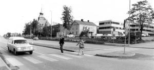 En sommardag 1979. Här syns biblioteket som ännu inte byggts ut.