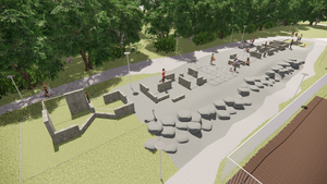 Det här är en skiss för en parkourbana i Hallstavik. Illustration: Sweco