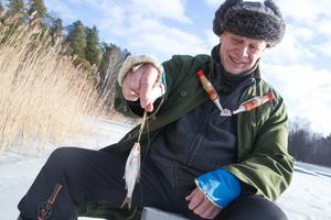 Jan Enesved, ordförande i SAFK, Södertälje amatörfiskeklubb.  Här med en mört.