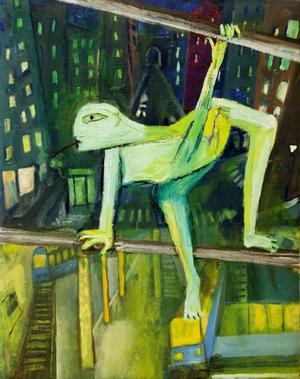 """SPINDELKVINNA. Kanske på väg mot nya konstnärliga erövringar. Målningen """"Klättrar"""" av Majlis Alm."""