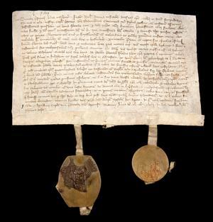 Brevet från biskop Israel daterat 29 augusti 1318. Där omnämns Leksand för första gången i text. Originalet förvaras i Riksarkivet. Foto: Riksarkivet.