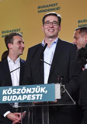 Gergely Karácsony är ny borgmästare i Budapest. Foto: Zoltan Balogh / AP