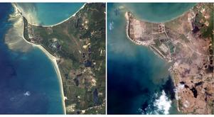 Foto: TT/AP Photo. Dessa två bilder visar Khao Laks kustlinje, före och efter tsunamin. Det var här i området Peter Elfsbergs sällskap befanns sig.