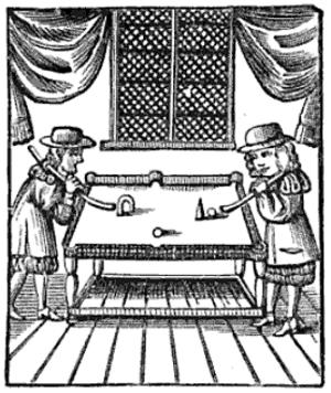 En illustration av biljardspel av Charles Cotton från 1674.