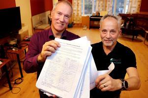 Leif Edh och Håkan Sjölander med närmare 4 000 namnunderskrifter.