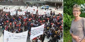 Britt Skagerling från Ramsberg var med på demonstrationen i Stockholm för afghanska flyktingars rätt att få stanna i Sverige.