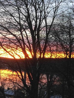 Solnedgång på Alnön vid 15-tiden på tisdagen.