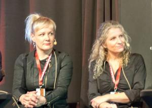 Deckardrottningar från Finland och Danmark funderar över det nordiska deckarundret: Kati Hiekkapelto och Ane Riel.
