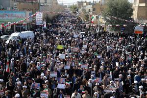 Demonstrationer i den heliga staden Qom, söder om Teheran. Foto: Mohammad Ali Marizad /AP