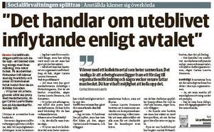 Karolina Wallström (L) reagerar på förändringen av Socialförvaltningen i Örebro (klipp från NA den 29 november).