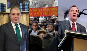 Foton: TT. Till vänster: Ambassadör Emre Yunt. I mitten: Demonstration för erkännandet av folkmordet utanför riksdagen 2010. Till höger: Stefan Löfven.