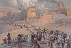 Det judiska folket lämnar Egypten och påbörjar sin ökenvandring. Målning av James Tissot från 1902.
