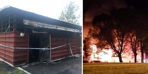 Sopsorteringsbyggnaden blev helt utbränd.