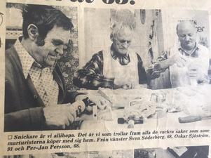 Sven Sjöström, Oskar Söderberg och Per-Jan Persson och pysslar.