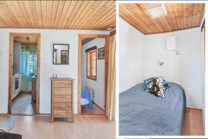 Smala dörrar i sommarstugan på 35 kvadratmeter. Kök till vänster och till höger fanns tidigare ett sovrum. Foto: Skandiamäklarna