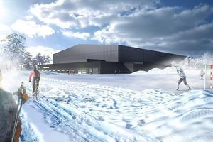 En illustration över hur bandyhallen i Gubbängen kan komma att se ut. Bild: Stockholm Stad/AIX Arkitekter